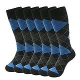 Argyle Casual Socks, SUTTOS Men's Dress Crew Trouser Socks,Elite 6-Pack Comfortable Cotton Novelty Socks,Custom Elite Blue Grey Black Argyle Dress Socks,Mid Calf Gift Wedding Groomsmen Socks
