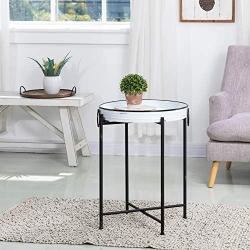Glitzhome Rustic Metal End Table,Folding Galvanized Side Table Waterproof Imitation Enamel Coffee Table Sofa Side Table