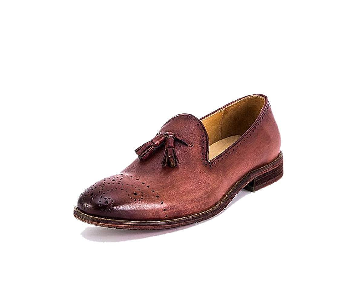 Herbst Und Retro Winter Beiläufige Männer Lederschuhe Retro Und Sets Füße Einzelne Schuhe British Brock ROT f548e5