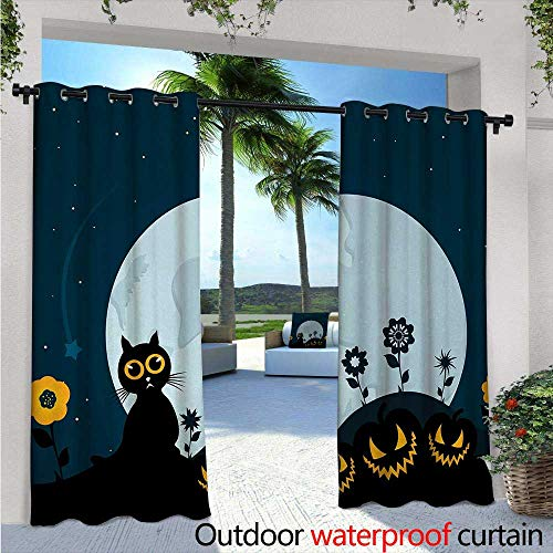 (Halloween Patio Curtains Cute Cat and Lanterns Moon on Floral Field with Starry Night Sky Star Cartoon Art Outdoor Curtain for Patio,Outdoor Patio Curtains W120 x L108 Blue)