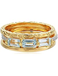 18k Yellow Gold Plated Sterling Silver Genuine Sky Blue Topaz and Diamond Accent Stackable Rings (Set of 3), Size 7