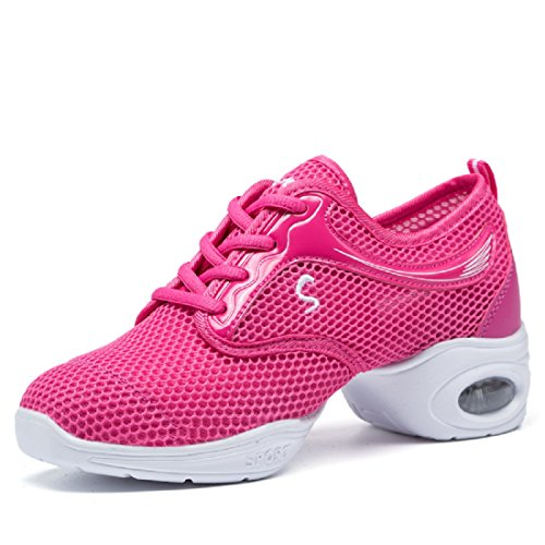 Ballroom Breathable Lightweight Mesh YIBLBOX Dance Single Boost Womens Heel Sneakers Trainers Jazz Shoes Rose Mesh wfUaWxAa