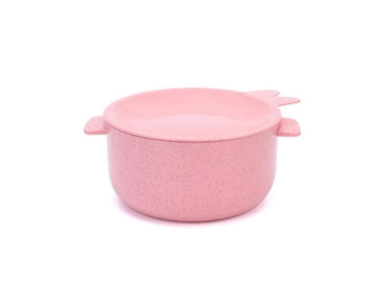 FERFERFERWON Baby Tischset Weizenfaser-Kinderschüssel-Kindergeschirr mit Griffen für Suppe oder Reis (Rosa) Kleinkind Kinder