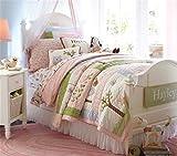 quilting filling - Jameswish Princess Bedding Kids Quilt Sets 100%Cotton Filling Needle Cotton Coverlet Comforter Exquisite Owl Applique Patchwork Bedspread Washable Machine Full Twin Size