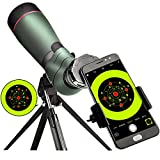 landove 20-60X 65 Waterproof Spotting Scope- Prism Scope for Birdwatching Target Shooting Archery Outdoor Activities -with Tripod & Digiscoping Adapter-Get The Beauty into Screen For Sale
