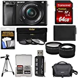 Sony Alpha A6000 Wi-Fi Digital Camera & 16-50mm Lens with 64GB Card + Case + Battery + Tripod + Tele/Wide Lenses + 3 UV/CPL/ND8 Filter Kit
