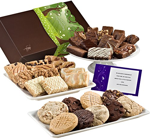 Fairytale Brownies Sympathy Ultimate Bar, Sprite & Cookie Combo Gourmet Food Gift Basket Chocolate Box - 3 Inch x 1.5 Inch Snack-Size Brownies Plus Blondie Bars and Cookies - 36 Pieces