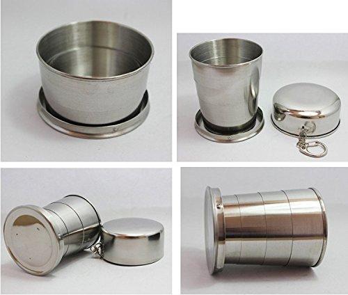 Vaso plegable de 250 ml, acero inoxidable, portátil (L)