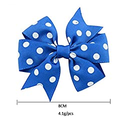 40 Pcs(20 Pairs) Polka Dot Boutique Baby Girl Hair Clips Flower Grosgrain Ribbon Bows for Toddlers Teens Kids Little Girls Barrettes
