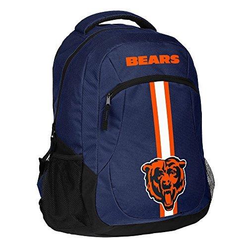 1pc Large NFL Bearsバックパック、Chi Merchandise Athletic AmericanチームSpiritファンDABEARS Da Bearsブルーブラックホワイトオレンジ、ストライプロゴフットボールテーマスクールバッグスポーツパターン、ポリエステル   B0763RSWT5
