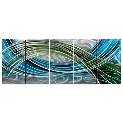 Abstract Colorful Metal Wall Art, Abstract Green Sculpture Decor 3D Wall Art for Modern and Contemporary Decor, 5-Panels 24