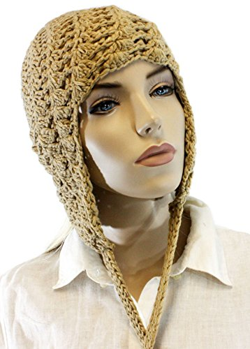 Fashion Dimensions Coffee Knitted Cotton Pom Pom Dangle Trapper Hat