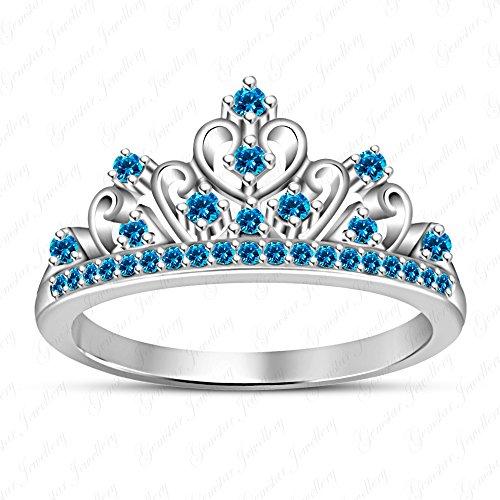 Gemstar Jewellery Blue Topaz Jasmine Disney Princess Crown Ring in 925 Silver 14k White Gold Finish