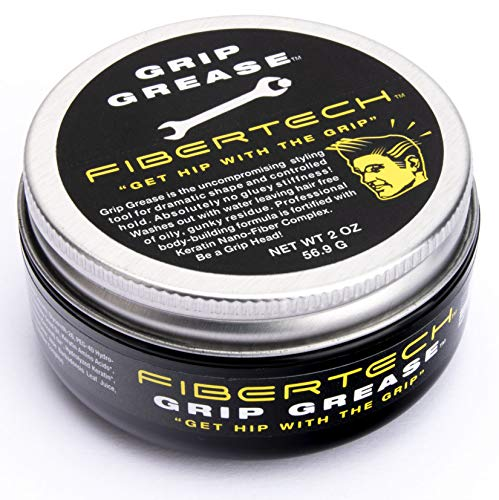 Fibertech | GRIP GREASE | Strong Hold & High Shine | Professional Grade Water-Based Pomade | Natural Ingredients | Long Lasting Styling Volume | Easy Wash Out | Protects Hair from UV Rays | 2oz Jar (Ounce Aloe Jar 2)