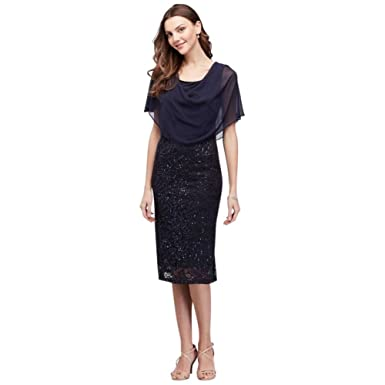 7144b978 Sequin Lace Short Mother of Bride/Groom Dress with Chiffon Capelet Style  V210540 at Amazon Women's Clothing store: