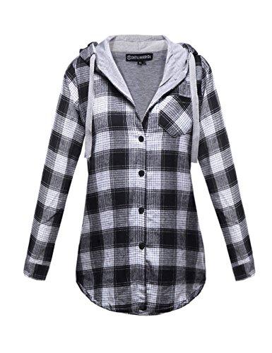 OMEYA.WANSHIDA.Womens Long Sleeve Button Up Plaid Flannel Hooded Jacket Shirt (XL, Grey-1)