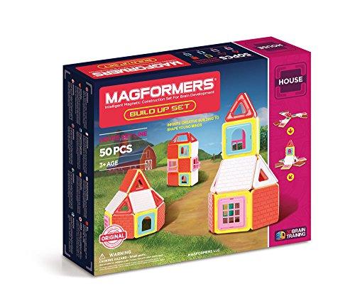 Magformers Build Up (50 Piece) Set Magnetic Building Blocks, Educational Magnetic Tiles Kit , Magnetic...