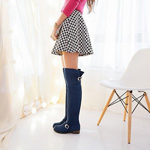 Carolbar Womens Multi-fibbia Della Chiusura Lampo Comfort Semplice Casual Tacco Basso Stivali Blu