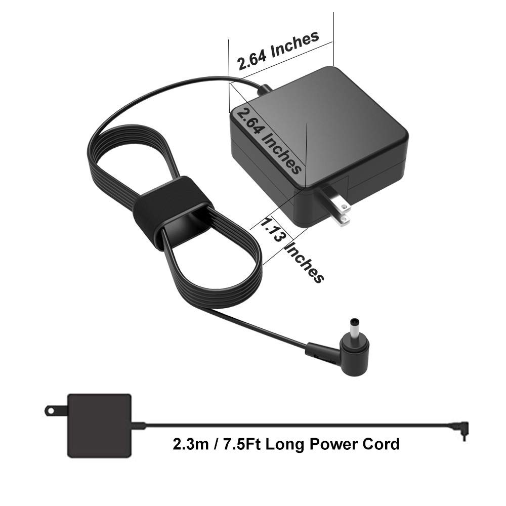UL Listed AC Charger for Asus X550Z X550ZA X550C X550CA X550L X550LA X550J X550JX X550JK X550 Laptop Portable 7.5Ft Power Supply Adapter Cord