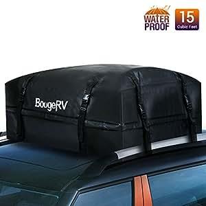 BougeRV 15 Cubic Feet Rooftop Cargo Carrier Waterproof Roof Top Cargo Bag for Car Truck SUV Vans (Updated Version)
