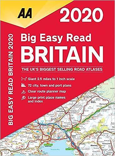 Atlas Map Of Uk.Big Easy Read Britain 2020 Spiral Bound Aa Road Atlas Britain