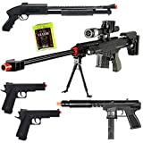 Dark Ops Airsoft Lot of 5 Airsoft Guns Sniper Rifle Shotgun Machine Pistols & 1000 6mm BB