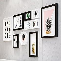 Marco Photo Wall Nordic Living Room Combinación minimalista y moderna de marcos de fotos Decoración hogareña ( Color : Negro )