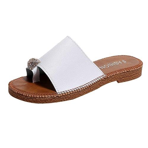 LHWY Sandalias Damas de Moda de Verano con Diamantes de imitación Planas, tamaño del Dedo del pie, Sandalias y Zapatillas de Gran tamaño: Amazon.es: Zapatos ...