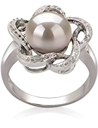 PearlsOnly - Fiona White 9-10mm Freshwater 925 Sterling Silver Cultured Pearl Ring