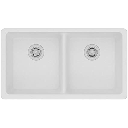 Beau Elkay Quartz Classic ELGU3322WH0 White Equal Double Bowl Undermount Sink