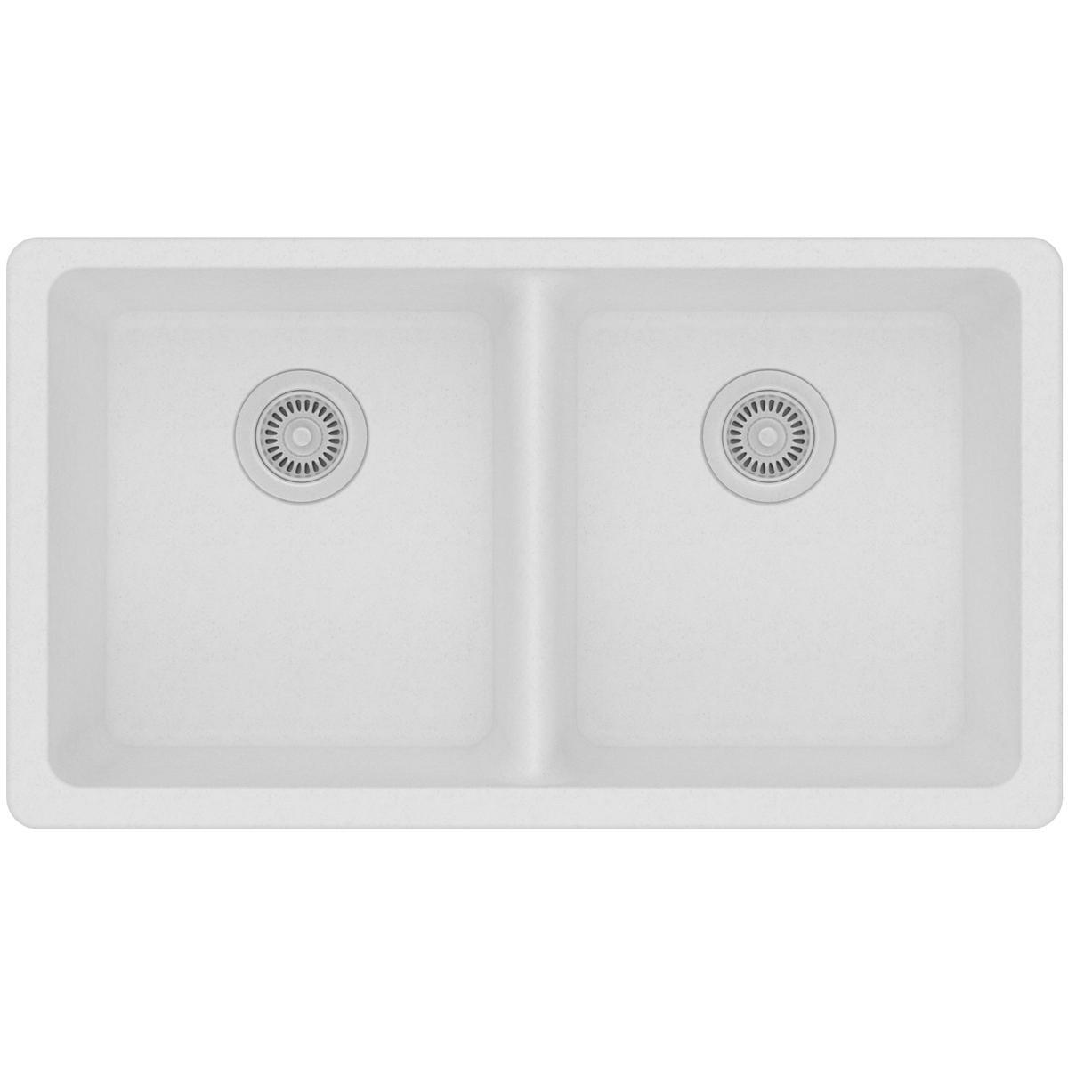 Elkay Quartz Classic ELGU3322WH0 Equal Double Bowl Undermount Sink, White