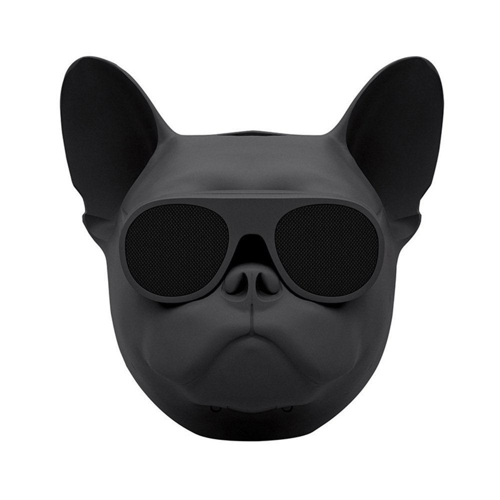 Ankery Creative Bulldog Head Wireless Bluetooth Speaker,Super Bass and Stereo Car Speaker Support FM Radio TF Mp3 Player Mobile Phone (Black)