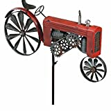 Whole House Worlds The Americana Red Farm Tractor Garden Spinner, Vintage Style Stake Decoration, Rustic Red With Antiqued Finish, 4 Ft 4 inches Tall, (130 cm) By