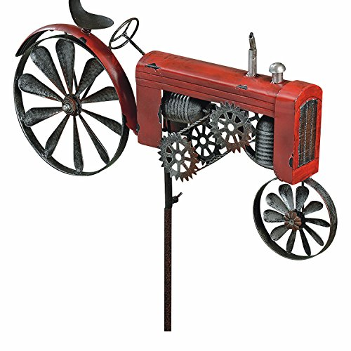 The Americana Red Farm Tractor Garden Spinner, Vintage Style Stake Decoration, Rustic Red With Antiqued Finish, 4 Ft 4 inches Tall, (130 cm) By Whole House Worlds - Red Tractor Spinner