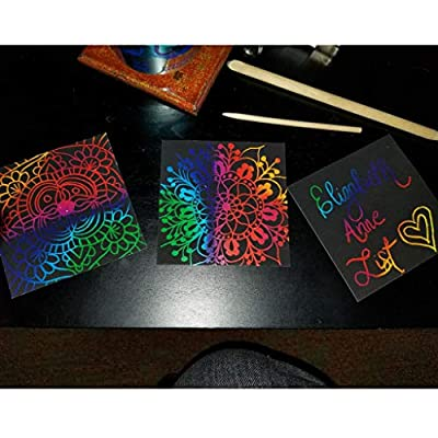 Huilier 100PCS Rainbow Scratch Art Mini Notes with Wooden Stylus Scraping Drawing Toys Arts and Crafts for Girls Stocking Stuffers Art Supplies: Arts, Crafts & Sewing