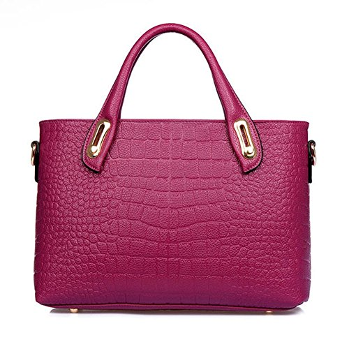 Missfox Women Casual Alligator Pattern Solid Colored Top Handle Handbag Purple