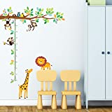 Decowall, DW-1402, Monkeys and Animals Height Chart peel & stick Nursery wall decals stickers Picture