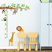 Decowall DW-1402 Little Monkeys Tree & Animals Height Chart Peel and Stick Nu...