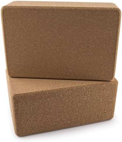 Peace Yoga® Set of 2 Cork Wood Yoga Blocks - Choose Your Size