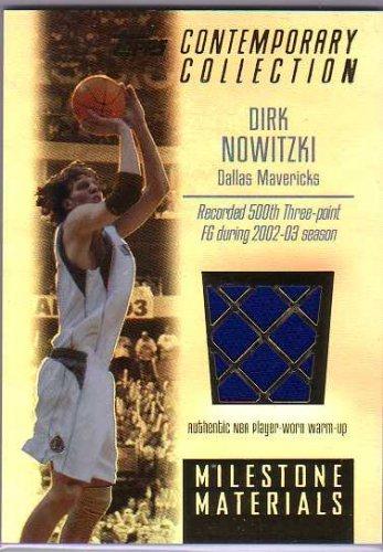 2003-04 Topps Contemporary Collection Milestone Materials #DN Dirk Nowitzki Player-Worn Warm-Ups Jersey Card #'d/250 - Mavericks