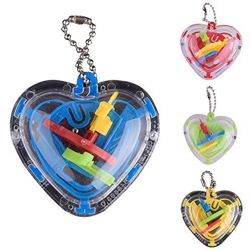HsgbvictS Puzzles & Magic Cubes Children Kids 50 Barriers Mini 3D Heart Intellect Maze Ball Balance Puzzle Toy 3D, Heart Shaped, Mini, 50 Barriers, Puzzle Toy - Random Color ()