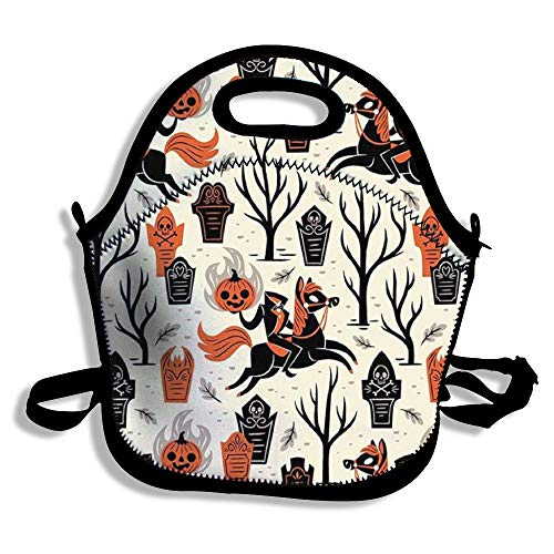 TonbaWins Halloween Inspiration Themed Insulated Zipper Lunch Bag Tote Bag Thermal Neoprene Lunch Bag Tote Soft Thermal Cooler Tote Reusable Picnic Bag for Women and Men and Kids Black