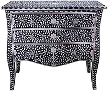 Bone Inlay Furniture – Black Moroccan Dresser Sideboard Three 3 Drawers & Curved Legs/CREDENZA