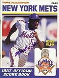 Autograph Warehouse 17224 1987 New York Mets Autographed Program Mookie Wilson