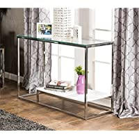 Furniture of America Nadia Glass Top Console Table in White