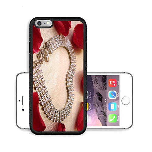 Luxlady Premium Apple iPhone 6 Plus iPhone 6S Plus Aluminium Snap Case IMAGE ID 759534 heart of dimond necklace with red rose petals on golden