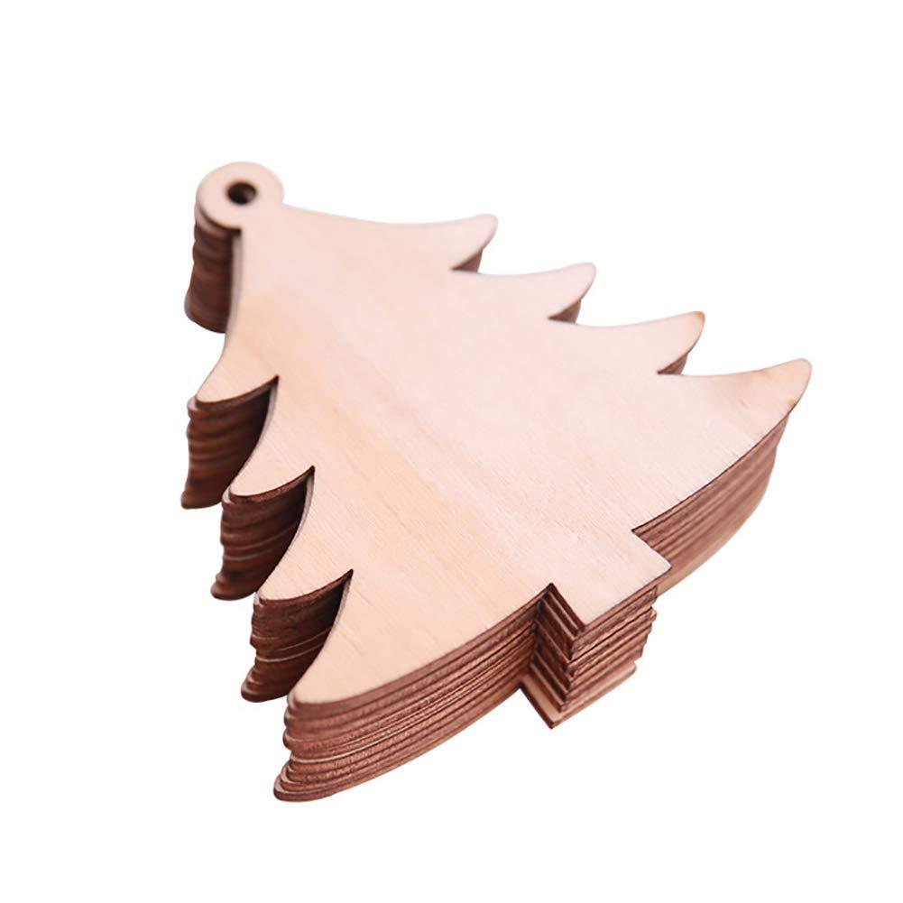 Ouken 10 pz/Pack Albero di Natale in Legno ciondoli Ornamenti Decorazione Fiocchi di Neve per grucce Card Making
