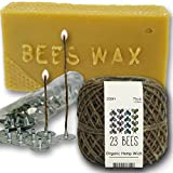 Organic Candle Making Bundle Kit | Organic Hemp Candle Wick + Natural Beeswax + Wick Sustainer Tabs | 23 Bees (200ft(Thick) x 200pc x 2lbs)