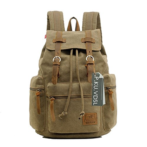 Vintage Canvas Laptop Backpack School College Rucksack Bag (Brown) - 8