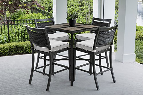 Oakland Living AZZ8455T-8313BS4-CU-9-ET Grey Aluminum Wicker Bar Set, Brown